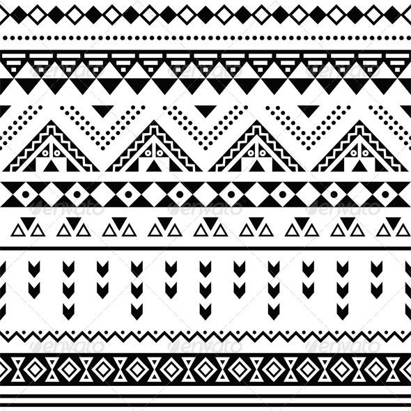 GraphicRiver Tibal Seamless Pattern Black Aztec Print 7140820