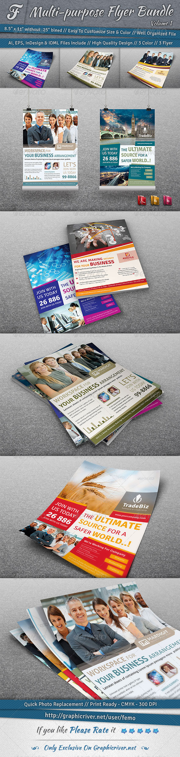 GraphicRiver Multi-purpose Flyer Bundle Volume 1 7140930