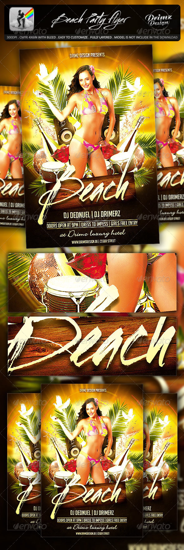 GraphicRiver Beach Party Flyer 7141182