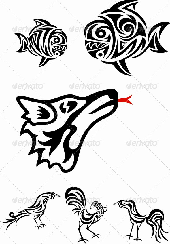 GraphicRiver Wolf Fish and Roosters 7143328