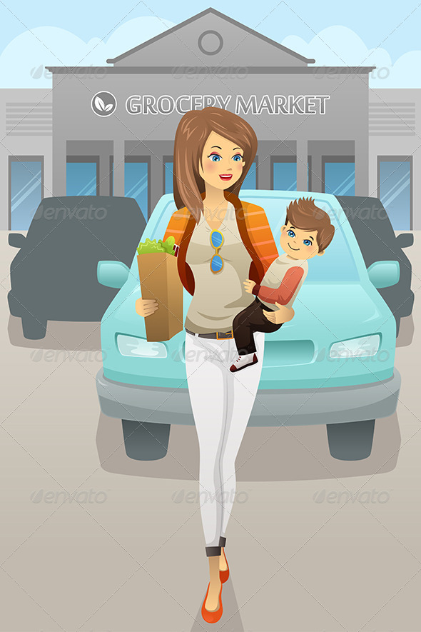GraphicRiver Mother Carrying her Son and Grocery Bags 7143481