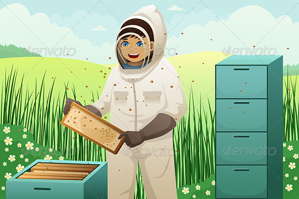 GraphicRiver Beekeepers with Honey Comb 7143483