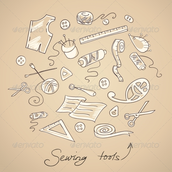 GraphicRiver Sketch of Sewing Tools 7144141
