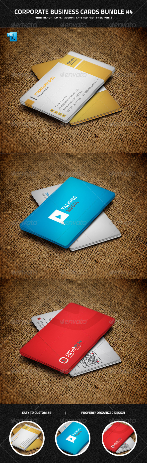 GraphicRiver Corporate Business Cards Bundle #4 7144660