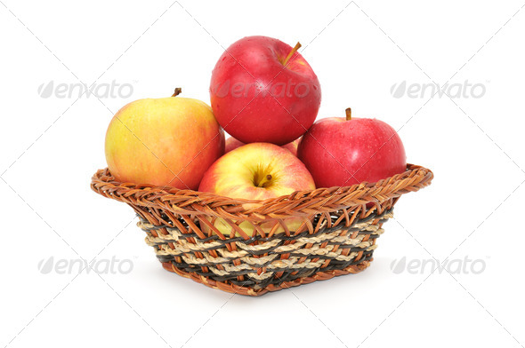 apples in basket - Stock Photo - Images