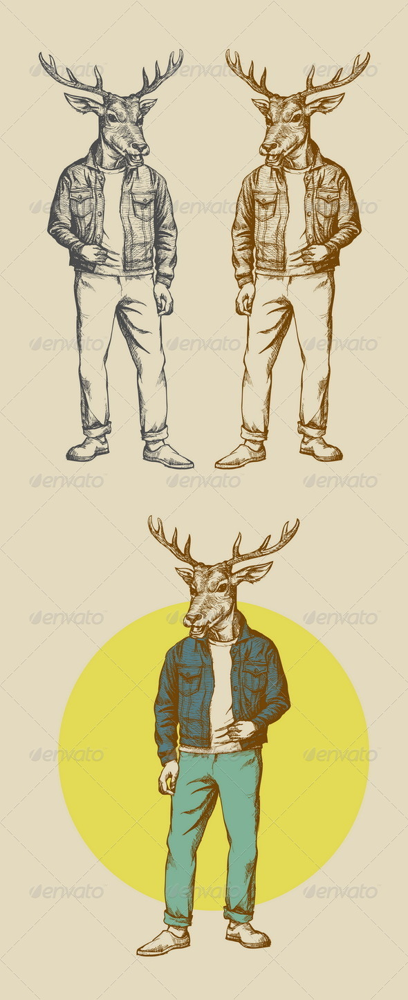 GraphicRiver Vintage Deer Illustration 7145826