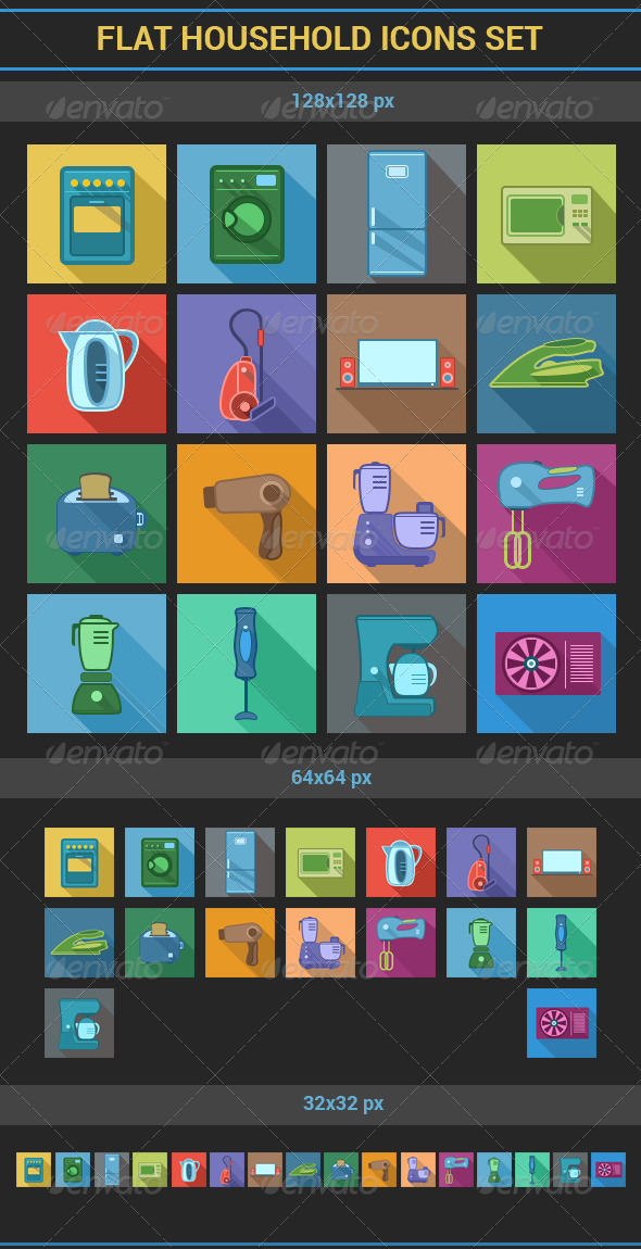 GraphicRiver Flat Household Icons Set 7146871
