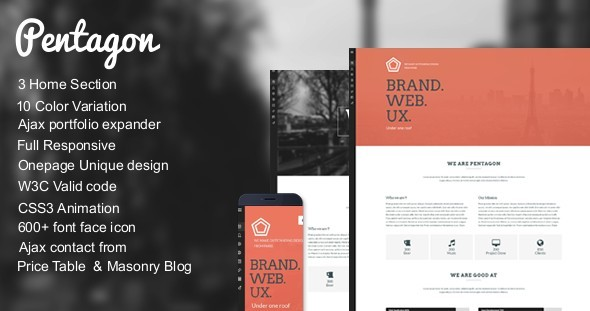 Pentagon - Unique Responsive Onepage template