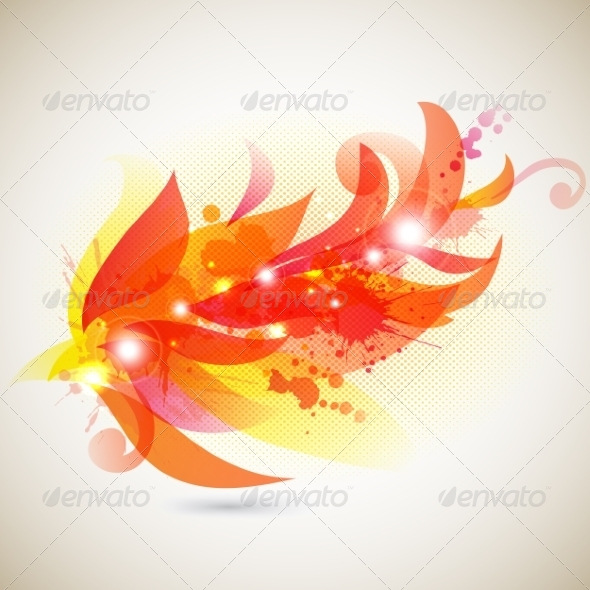 GraphicRiver Abstract Floral Branch with Blots 7147663