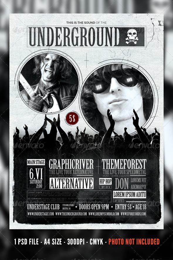 GraphicRiver Vintage Rock Concert Festival Flyer Poster 7140865