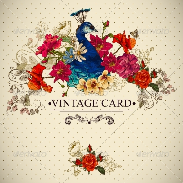 GraphicRiver Floral Vintage Card with Peacock 7149186