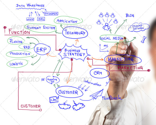 man drawing idea board of business process - Stock Photo - Images
