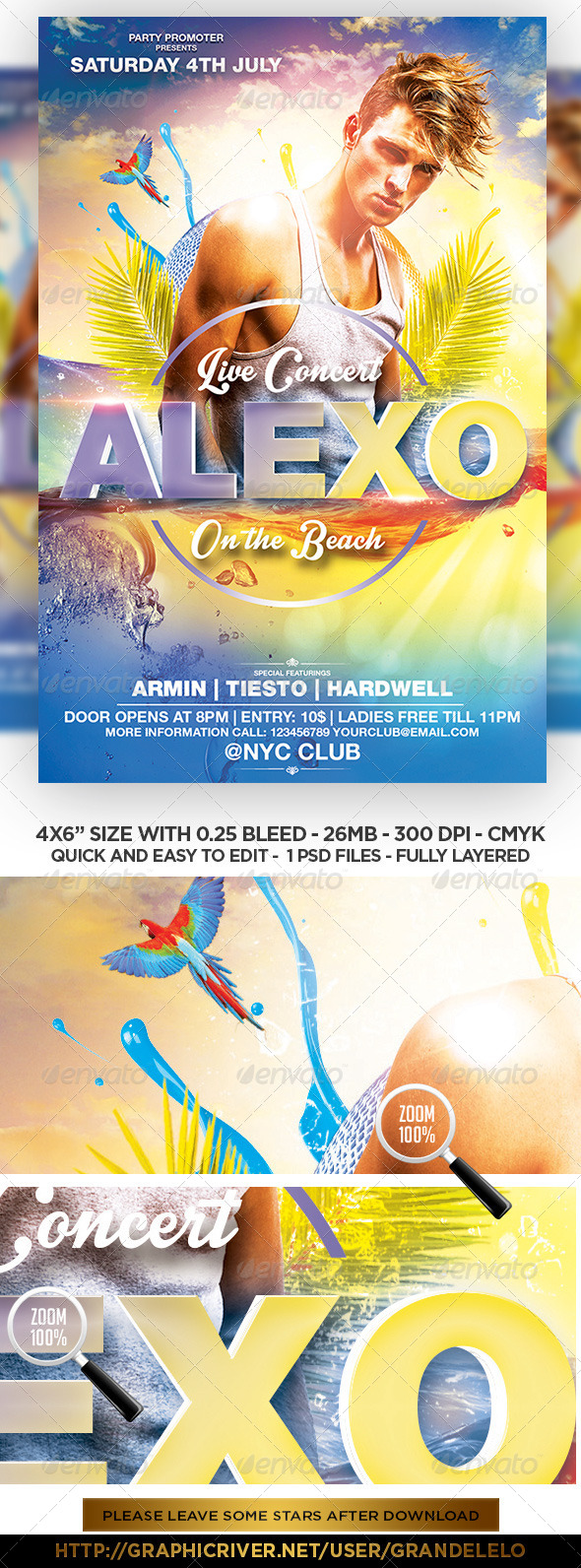 GraphicRiver DJ Beach Party FLyer Template 7140707