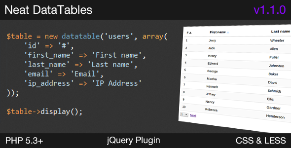 CodeCanyon PHP Datatables & jQuery Plugin 7153953