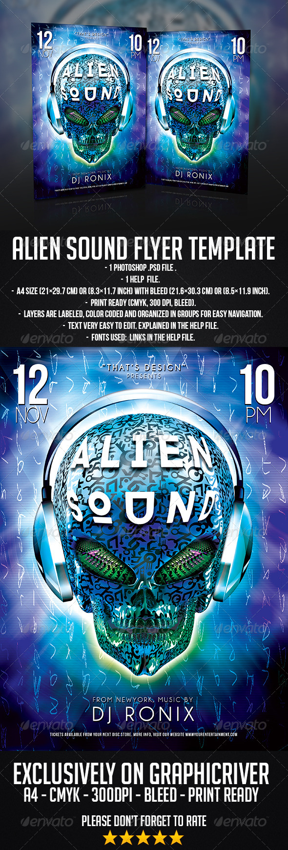 GraphicRiver Alien Sound Flyer Template 7154836