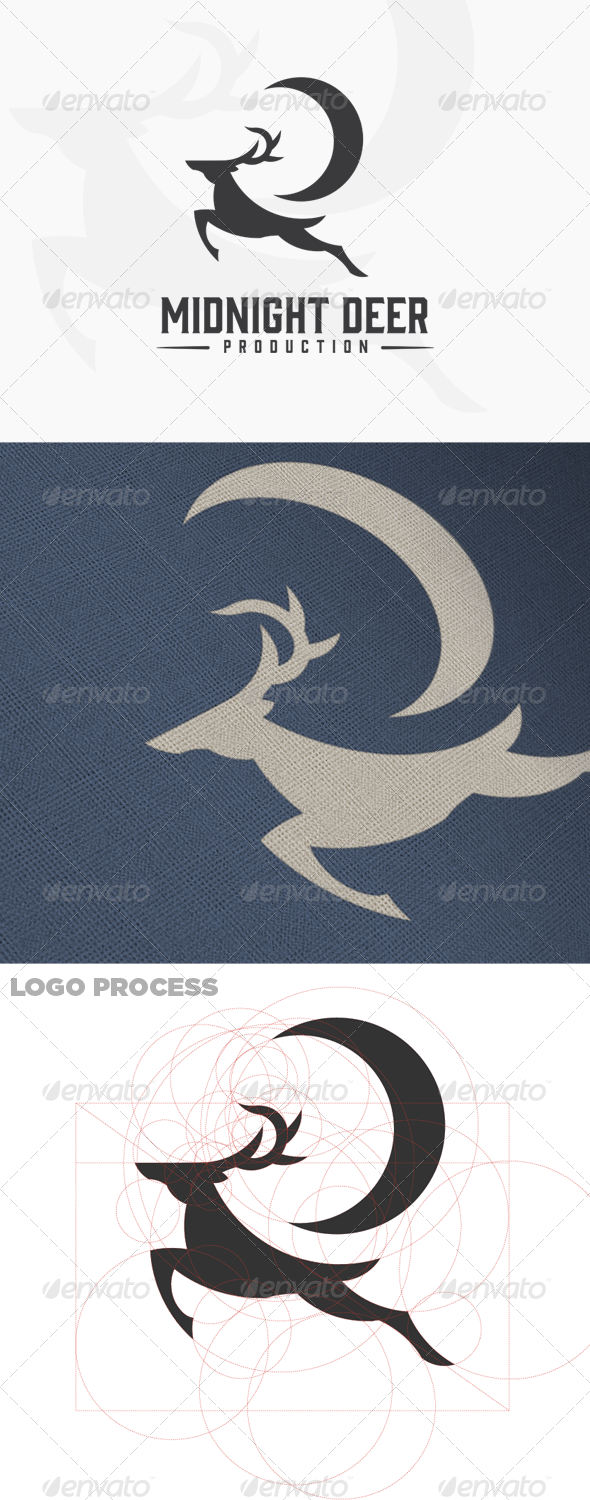 GraphicRiver Midnight Deer Production Male Deer Logo 7155118