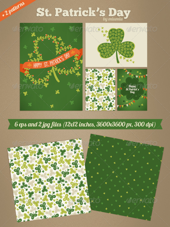GraphicRiver St Patrick s Day Cards and Patterns 7156445
