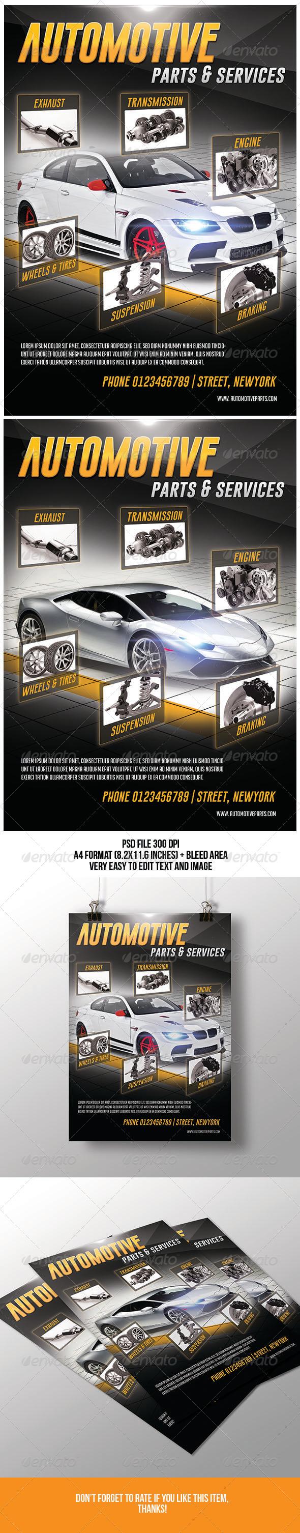 GraphicRiver Automotive Parts & Services Flyer 7144154