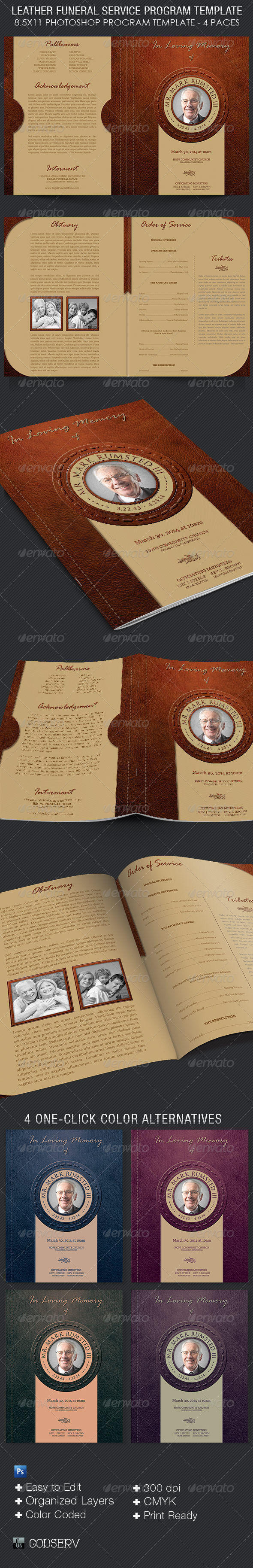 GraphicRiver Leather Funeral Service Program Template 7158323