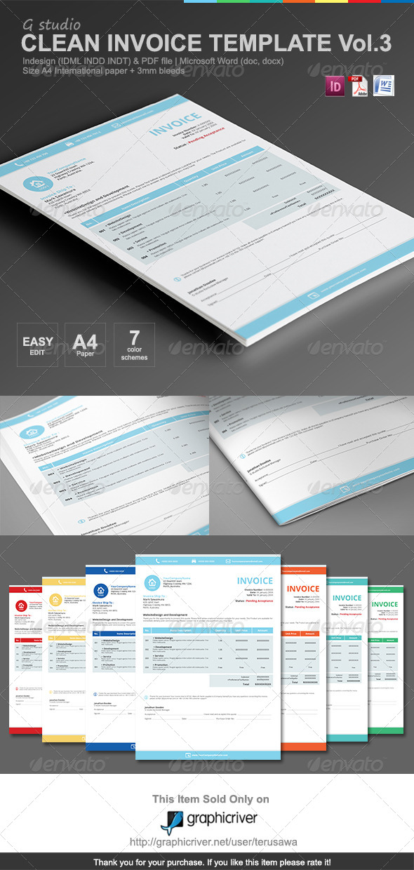 GraphicRiver Gstudio Clean Invoices Template Vol.3 7159713