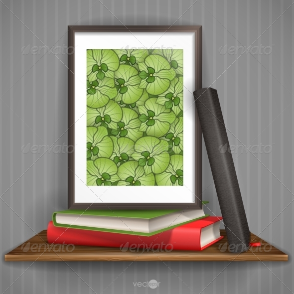 GraphicRiver Wood Shelf With Photo Frame 7159719