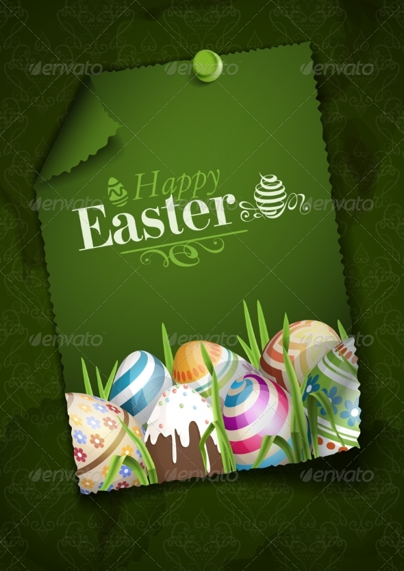 GraphicRiver Easter Background with Eggs in Grass 7159773