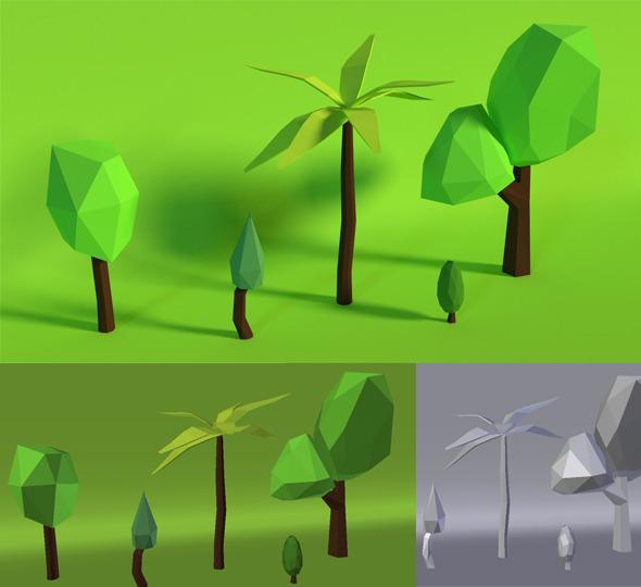 3DOcean LowPoly Trees Pack3 7160407