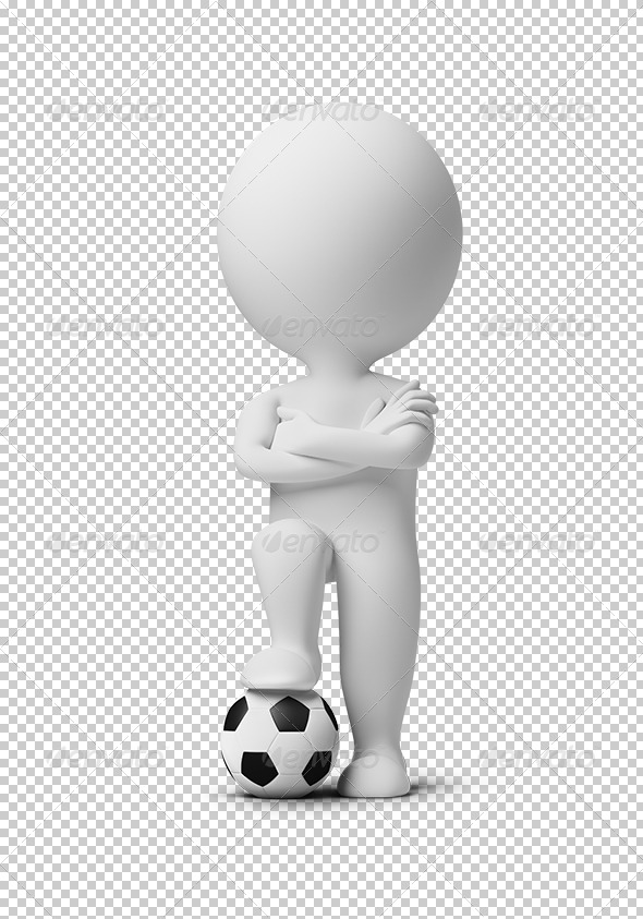 GraphicRiver 3D small people soccer player with a ball 7152163
