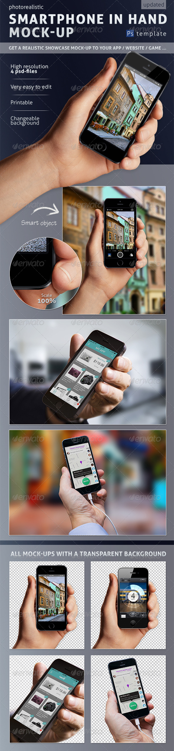 Mobile Phone in Hand Mock-up - Mobile Displays