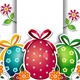 Easter Eggs White Background and Label - GraphicRiver Item for Sale