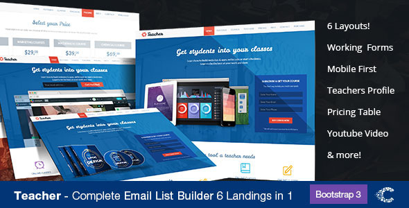 Teacher- Education One Page Responsive Theme - Landing Pages Marketing