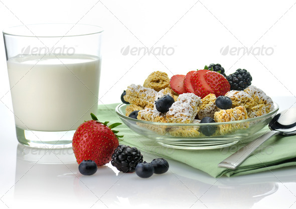 healthy breakfast,Shredded Wheat Cereal - Stock Photo - Images