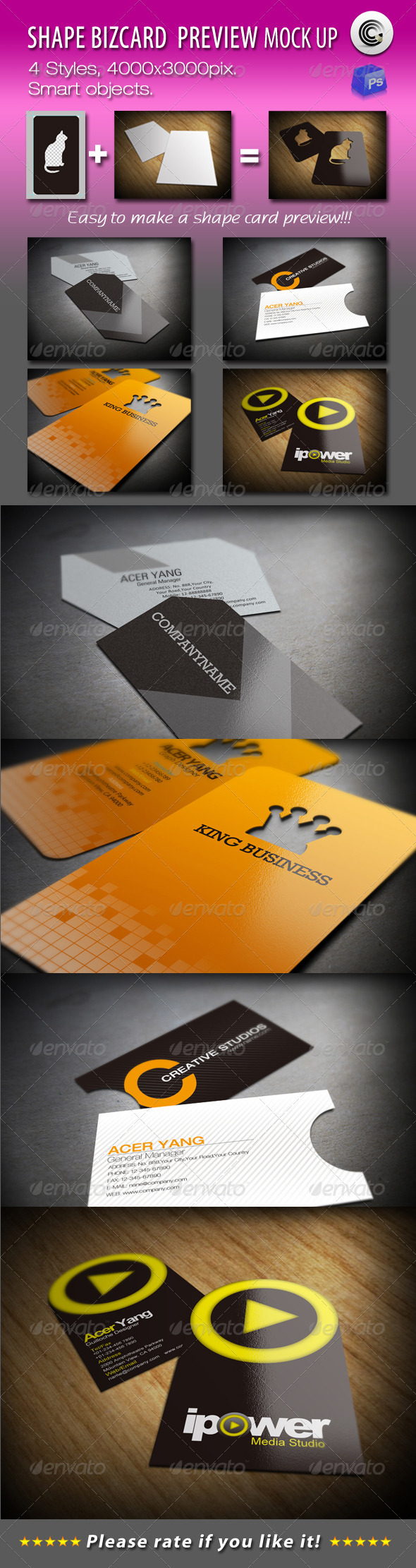 Shape BizCard Preview Mock-ups - Business Cards Print