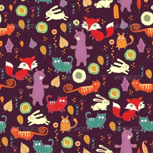 GraphicRiver Autumn Forest Seamless Pattern 7163688