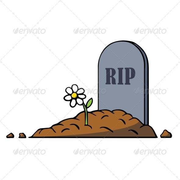 GraphicRiver Cartoon Grave with Tombstone and Flower 7164377