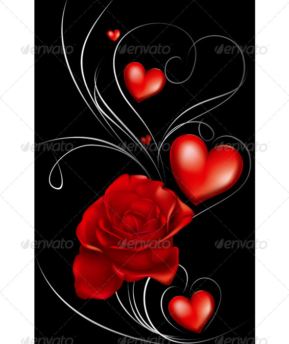 GraphicRiver Dark Red Roses and Heart 7165386