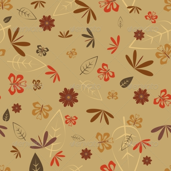 GraphicRiver Seamless Dragonfly and Butterfly Pattern 7165612