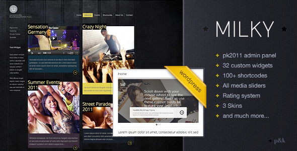 WordPress Milky Music/Business/Portfolio Theme
