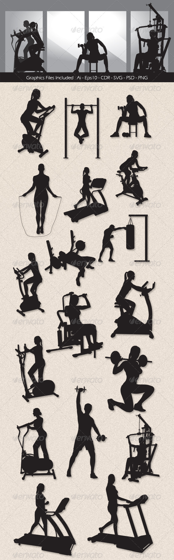GraphicRiver Workout Silhouettes 7167530