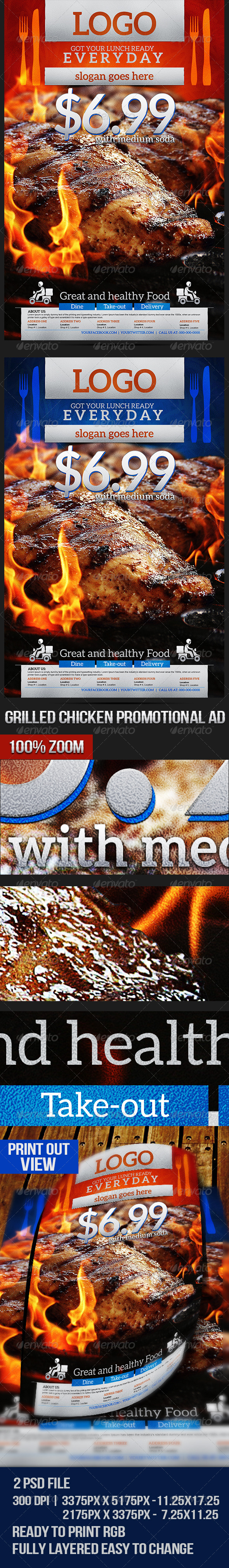 GraphicRiver Grilled Chicken Promotional Flyer 7119648