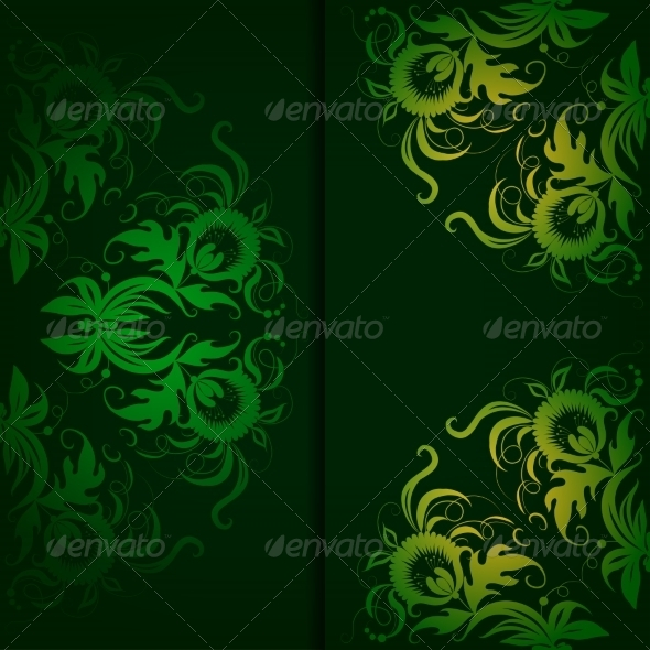 GraphicRiver Vintage Pattern on a Dark Green Background 7169959