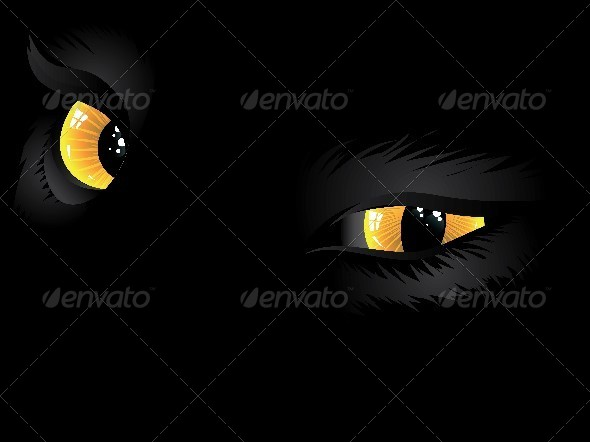 GraphicRiver Yellow Cat Eyes in the Dark 7170151