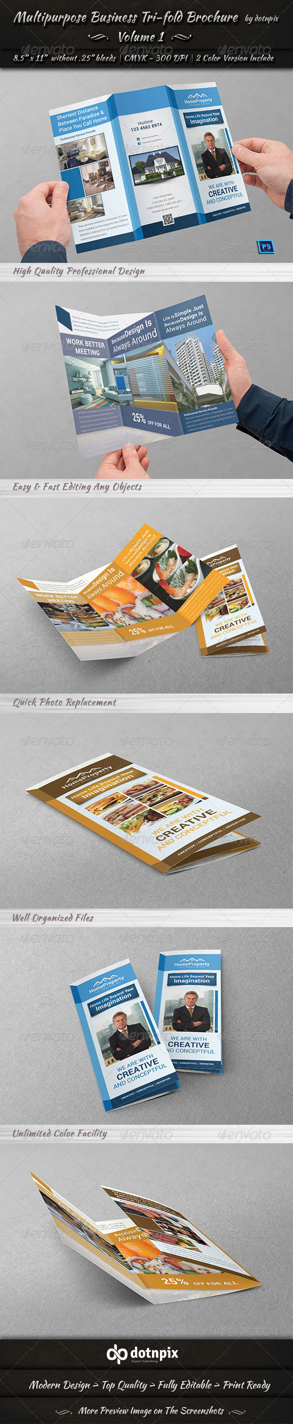 GraphicRiver Multipurpose Business Tri-Fold Brochure Volume 1 7174001