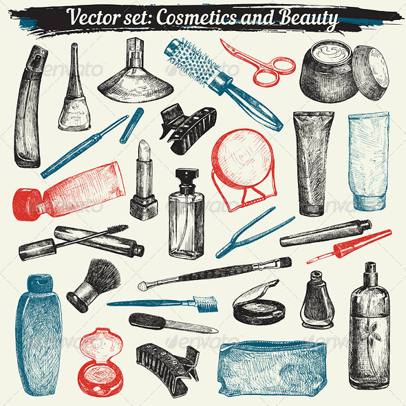 GraphicRiver Cosmetics and Beauty Doodles Vector Set 7174079
