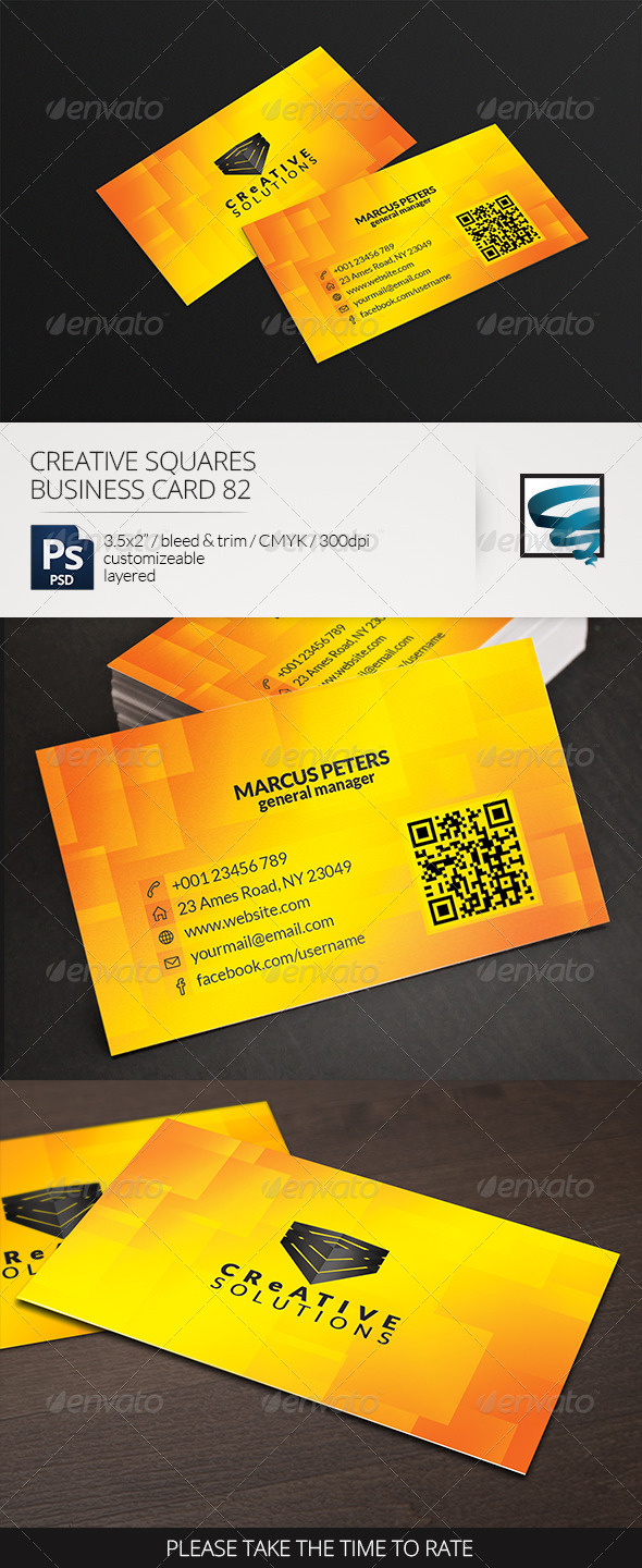 GraphicRiver Creative Squares Business Card 82 7176149