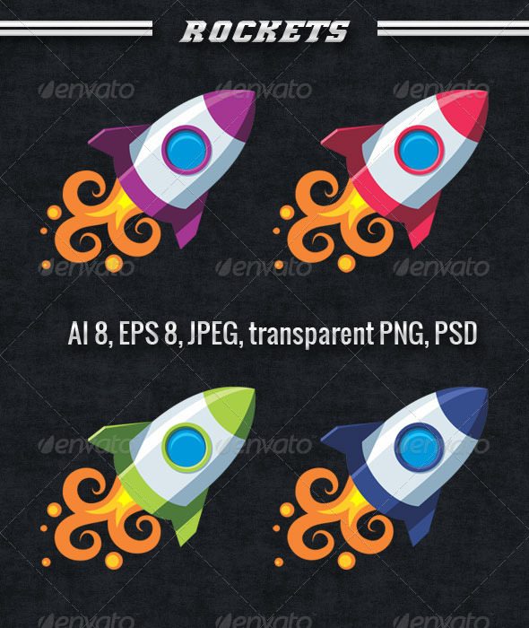 GraphicRiver Set of Colourful Rockets 3155515