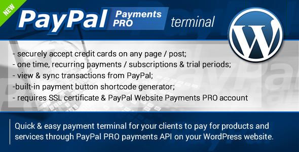 PayPal PRO Payment Terminal Wordpress is a wordpress plugin designed to make it easy for you to accept payments and subscriptions on your wordpress site. You ca