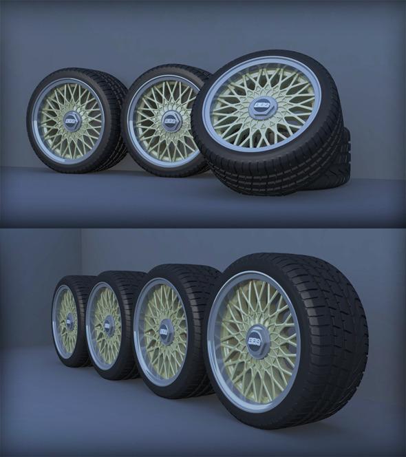 3DOcean BBS RZ 4x100 Car Wheels Set 7178152