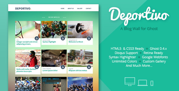 ThemeForest Deportivo a blog wall for Ghost 7104723