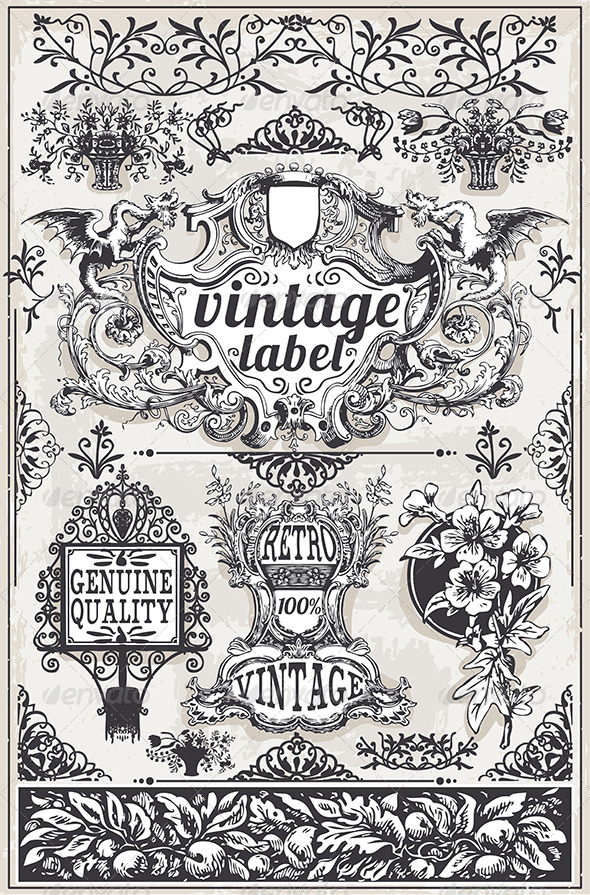 GraphicRiver Vintage Hand Drawn Graphic Banners and Labels 7185555